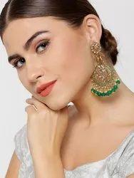 Designer Gold-Plated Stone-Studded Peacock Inspired Green Earrings For Women