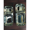 2 Partition Stainless Steel Snack Plate