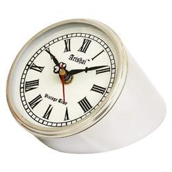 Silver Metal Artshai 4 inch Table Clock Made from Stainless Steel