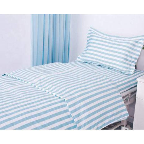 Good Cotton White, Blue Colored Hospital Bed Sheet, Size: 36