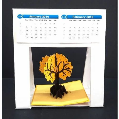 Printed Foldable Desk Calendar with 3D Laser Cut Printed Popup Cards