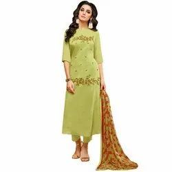 Rajnandini Green Chanderi Silk Embroidered Semi-Stitched Dress Material With Printed Dupatta
