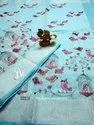 Designer Embroidered Linen Saree