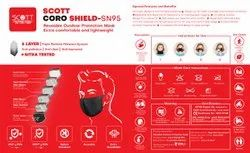 Reusable 6 ply Scott Coro Shield Mask-SN 95-50 Times Washable