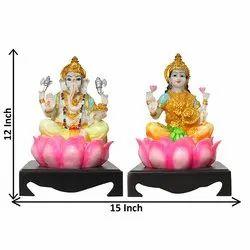 Multicolor Laxmi-Ganesha Statue