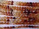 Hessonite Garnet Oval Shape Step Cut Briolette Beads Strands, Shaded, Brown, Orange