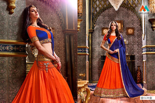 Georgette Orange and Blue Designer Embroidery Lehenga Choli