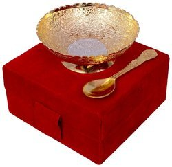 Silver and Golden Plated Wedding Gift Bowl