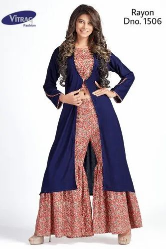 Designer Jacket Kurti with Crop Top and Sharara