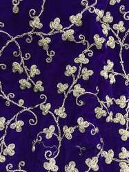 Blue Cotton Embroidered Fabric