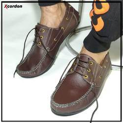 Xcordon Brown Genuine Leather Boat Shoes