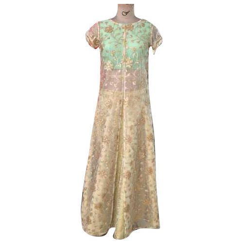 5d304875915e7 Ladies Net Golden Color Half Sleeves Party Wear Gown, Rs 8000 /piece ...
