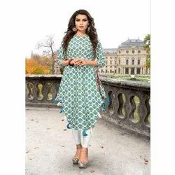 Ladies Printed Party Wear Rayon Kurti, Size: S-XXL