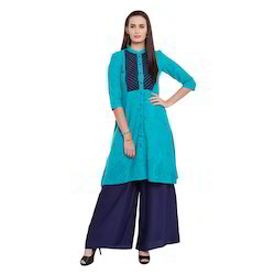 Linen Blue Fashionable Kurti