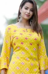 Yellow Floral Printed Ladies Kurti