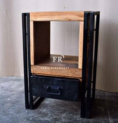 Rustic Industrial Hotel Bedside Table for Resorts, Vacation Villa Bedroom Furniture