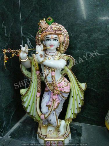 White Hindu Religious Krishna Marble Statues Size 2 To 6