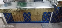 Stainless Steel Blue and Golden Catering Counter