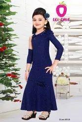 Wedding Wear sef stripe Princes Style Full Sleeve Blue Long Dress