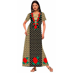 Ladies Half Sleeves Cotton Nighty DN2257, Size: S & M