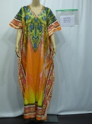 Green Orange Cotton Kaftan