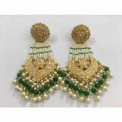 22 Carat Gold Natural Uncut Diamond Polki Jadau Earrings