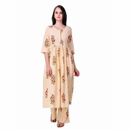 Calf Long Round Neck Ladies Cotton Kurtis