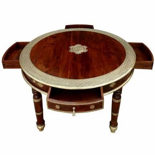 Four Drawer Wooden Round Table