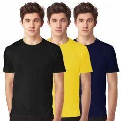 Cotton Half Sleeve Mens Round Neck Plain Combo T Shirt, Size: S-XXL