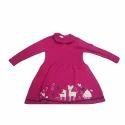 Dark Pink Printed Girls Woven Dress