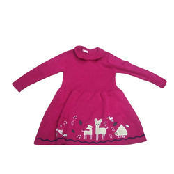Dark Pink Printed Girls Woven Dress