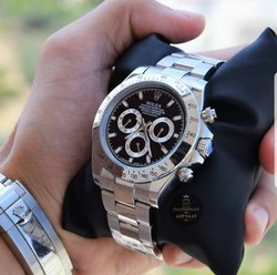 Silver Stainless Steel Rolex Mens Watch