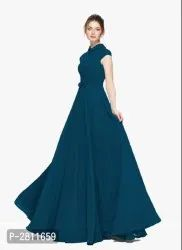 Stitched Blue Georgette Flared Western Gown, Size: Large