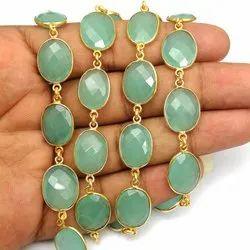 Aqua Chalcedony Freeform Gemstone Bezel Connector Chain