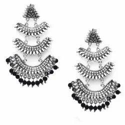 KM Dangler Oxidised Silver earrings