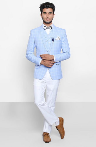 8148e4a0c883c1 Flyrobe Light Blue Plaid Three-Piece Semi-Formal Suit at Rs 14500 ...