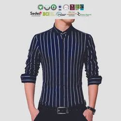 Regular Wear Sustainable Cotton Mens Striped Shirts