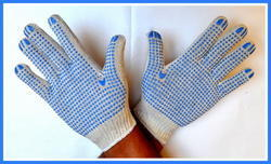 White On Blue Dotted Hand Gloves 50 Gram