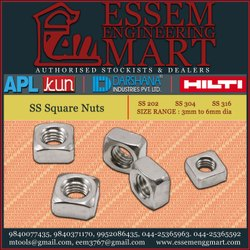 APL Stainless Steel SS Square Nuts, Size: 3mm To 6mm