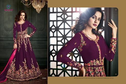 Georgette Wine Color Floor Length Embroidered Anarkali Suit