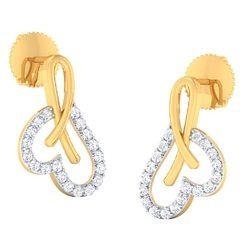 Heart Shape Gold Diamond Earrings