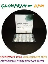 Glimipride 2 mg, Metformin 500 mg and Pioglitazone 15 mg (Sustained Release) Tablets