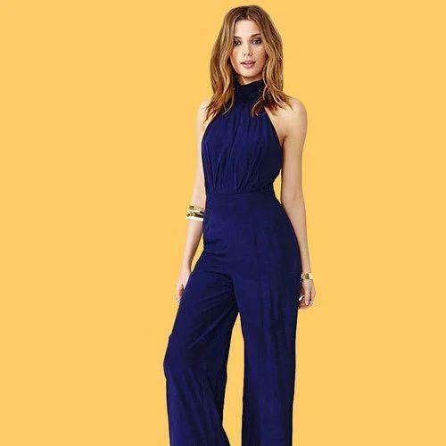 8f194111e Blue Satin Plain Ladies Jumpsuits