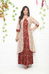 ANARKALI KURTI WITH CHANDERI JACKET