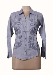 Ladies Floral Embroidered Shirt
