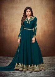 Shamita Shetty Peacock Blue Embroidered Anarkali Suit