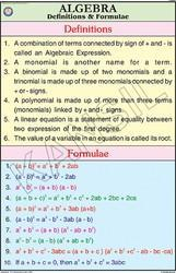 Algebra-definitions &  formulae For Mathematics Chart