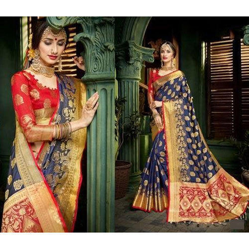 462ee1511 Silk Ladies Wedding Wear Saree With Blouse Piece