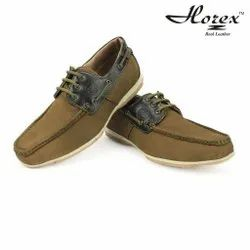Men horex Olive Green Casual Shoes In Pure Leather