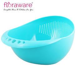 Floraware Fresh Plastic Colorful Rinse Fruit Vegetables Basin Wash Rice Sieve Bowl Strainer